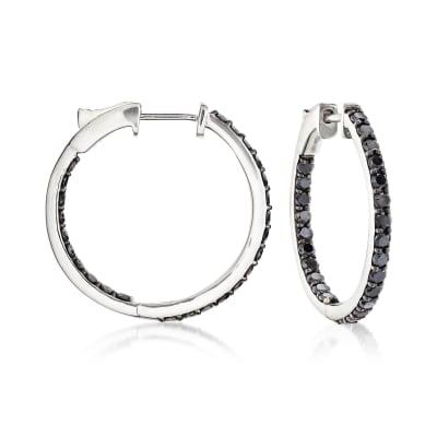 2.00 ct. t.w. Black Diamond Inside-Outside Hoop Earrings in 14kt White Gold