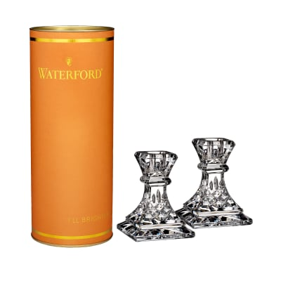 "Waterford Crystal ""Giftology"" Set of Two Lismore Candlesticks"