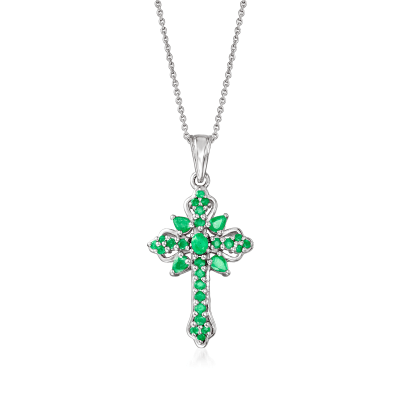 1.14 ct. t.w. Emerald Cross Pendant Necklace in Sterling Silver