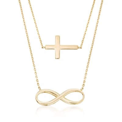 14kt Yellow Gold Double Layer Infinity and Cross Symbol Necklace