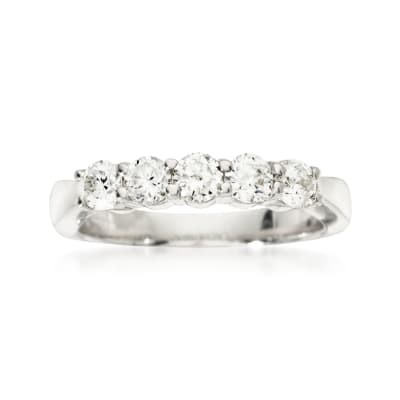 .75 ct. t.w. 5-Stone Diamond Wedding Ring in 14kt White Gold