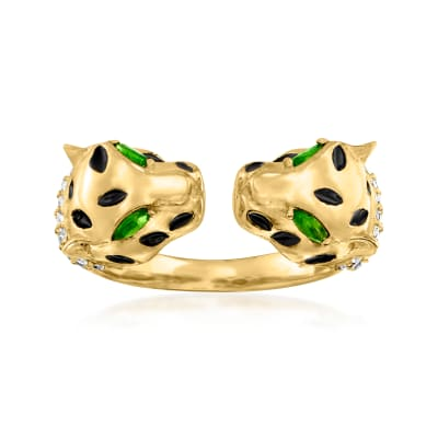 .60 ct. t.w. White Zircon and .10 ct. t.w. Green. Chrome Diopside Double Leopard Head Ring in 18kt Gold Over Sterling