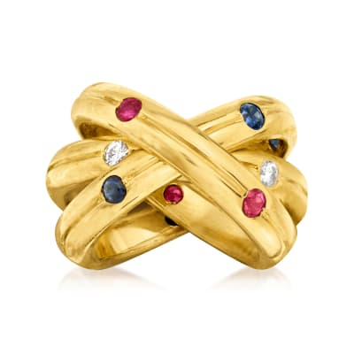 C. 1990 Vintage Cartier .80 ct. t.w. Multi-Gem and .30 ct. t.w. Diamond Trinity Ring in 18kt Yellow Gold