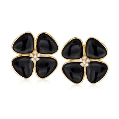 Black Onyx and .42 ct. t.w. Diamond Flower Earrings in 14kt Yellow Gold