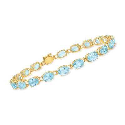19.00 ct. t.w. Sky Blue Topaz Bracelet in 14kt Yellow Gold
