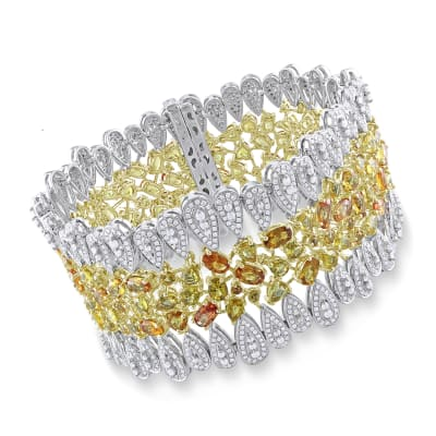 27.26 ct. t.w. Yellow Sapphire and 6.33 ct. t.w. Diamond Bracelet in 14kt Two-Tone Gold
