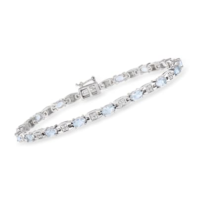 3.00 ct. t.w. Aquamarine and .30 ct. t.w. Diamond Tennis Bracelet in Sterling Silver