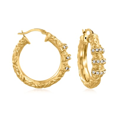 .36 ct. t.w. CZ Hoop Earrings in 18kt Gold Over Sterling