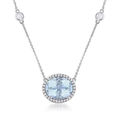 4.10 Carat Aquamarine and .80 ct. t.w. White Sapphire Necklace with .16 ct. t.w. Diamonds in 14kt White Gold