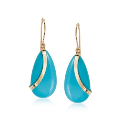 Turquoise Teardrop Earrings in 14kt Yellow Gold