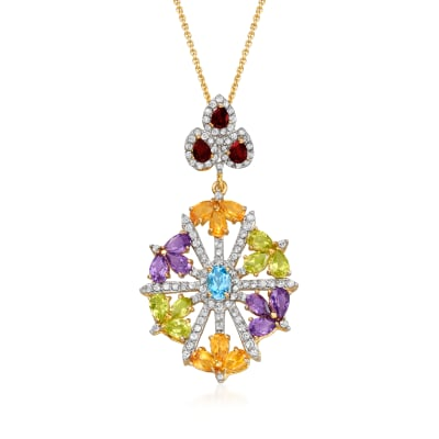 6.15 ct. t.w. Multi-Gemstone Floral Pendant Necklace in 18kt Gold Over Sterling