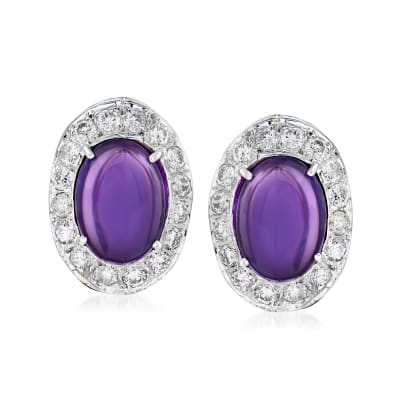 C. 1960 Vintage 12.00 ct. t.w. Amethyst and 2.25 ct. t.w. Diamond Earrings in 14kt White Gold