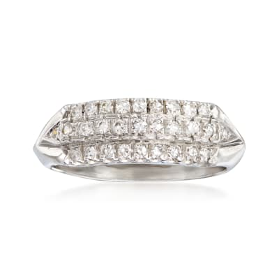 C. 1950 Vintage .50 ct. t.w. Diamond Three-Row Ring in Platinum