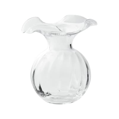 """Vietri """"Hibiscus"""" Small Fluted Glass Vase from Italy"""