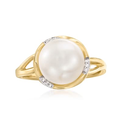 10-10.5mm Cultured Pearl Ring with Diamond Accents in 14kt Yellow Gold
