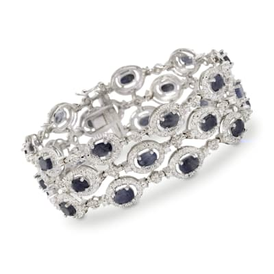 11.50 ct. t.w. Sapphire Bracelet with Diamond Accent in Sterling Silver