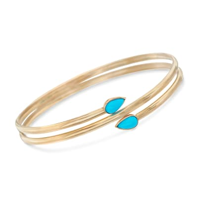 Sleeping Beauty Turquoise Bangle Bracelet in 14kt Yellow Gold