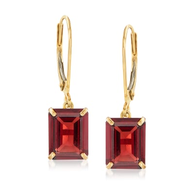 4.90 ct. t.w. Garnet Drop Earrings in 14kt Yellow Gold