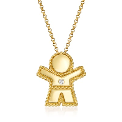 "Roberto Coin ""Princess"" Boy Pendant Necklace with Diamond Accent in 18kt Yellow Gold"