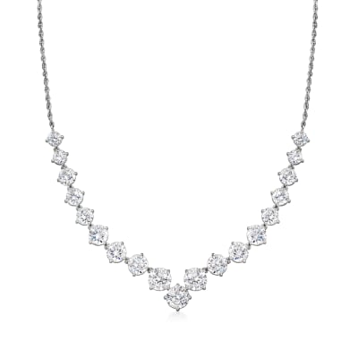 4.42 ct. t.w. CZ Graduated Necklace in Sterling Silver