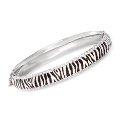 Zebra-Print Enamel Bangle Bracelet in Sterling Silver