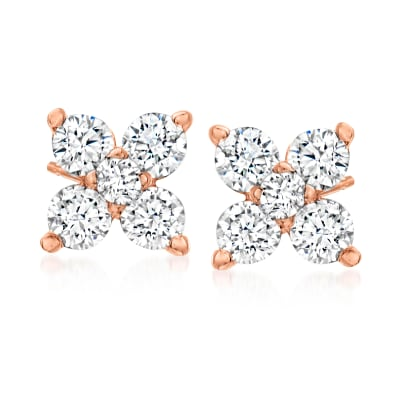 .30 ct. t.w. Diamond Quad Stud Earrings in 14kt Rose Gold