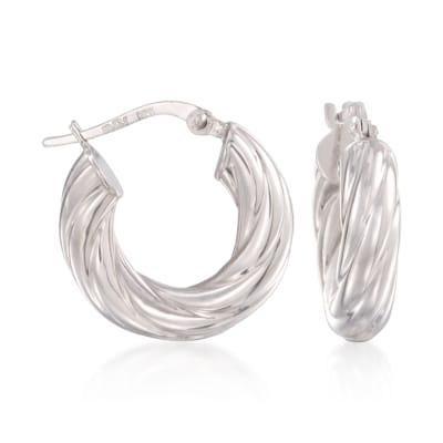14kt White Gold Ribbed Hoop Earrings