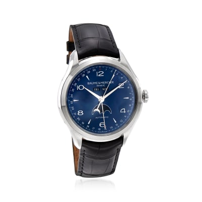 Pre-Owned Baume & Mercier Clifton Men's 43mm Moon Phase Stainless Steel Watch with Black Leather