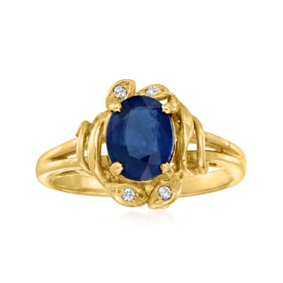 C. 1980 Vintage 1.60 Carat Sapphire Ring with Diamond Accents in 14kt Yellow Gold