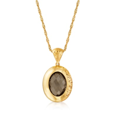 8.50 Carat Smoky Quartz Pendant Necklace in 18kt Gold Over Sterling