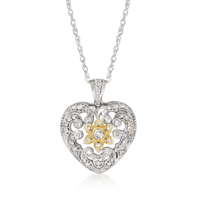 .49 ct. t.w. Openwork Diamond Heart Pendant Necklace in Two-Tone Sterling Silver