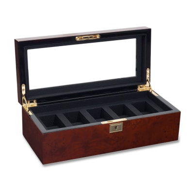 "Wolf Designs ""Savoy"" Burlwood Five-Part Watch Box"