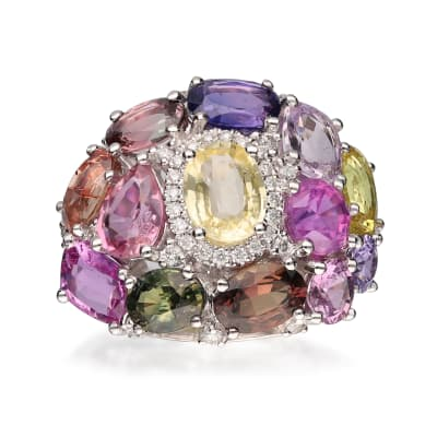 8.10 ct. t.w. Multicolored Sapphire Ring with .29 ct. t.w. Diamonds in 14kt White Gold