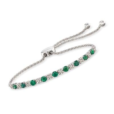 1.20 ct. t.w. Emerald and .20 ct. t.w. Diamond Bolo Bracelet in Sterling Silver