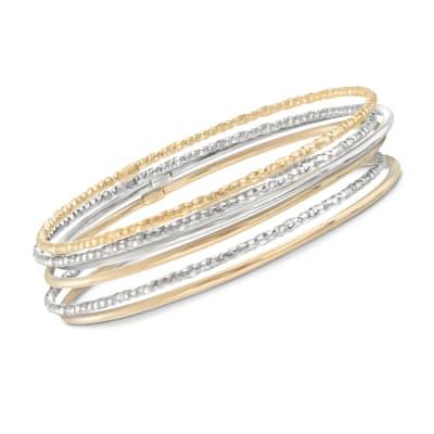 Two-Tone Sterling Silver Jewelry Set: Six Bangle Bracelets