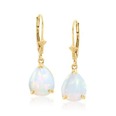 Opal Fleur-De-Lis Drop Earrings in 14kt Yellow Gold