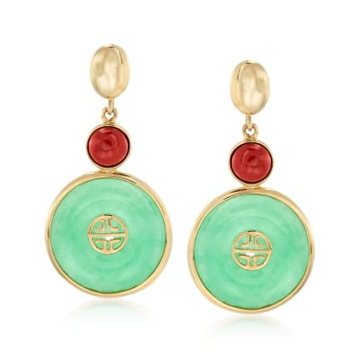"Green and Red Jade Chinese ""Long Life"" Symbol Drop Earrings in 14kt Yellow Gold"