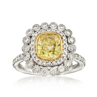 C. 2000 Vintage Tiffany Jewelry 1.75 ct. t.w. Yellow and White Diamond Ring in 18kt White Gold and Platinum
