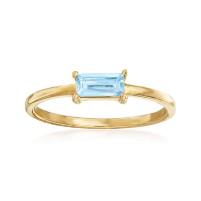 Italian .30 Carat Sky Blue Topaz Ring in 14kt Yellow Gold