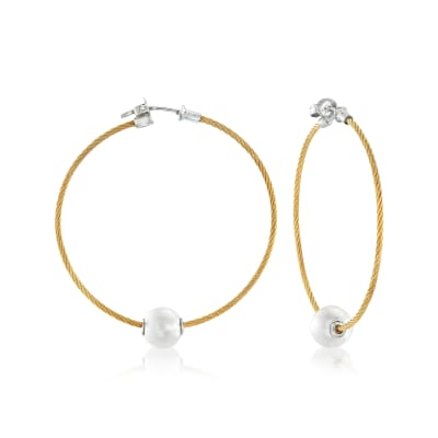 "ALOR ""Classique"" 8mm Cultured Pearl and Yellow Stainless Steel Cable Hoop Earrings with 18kt White Gold"