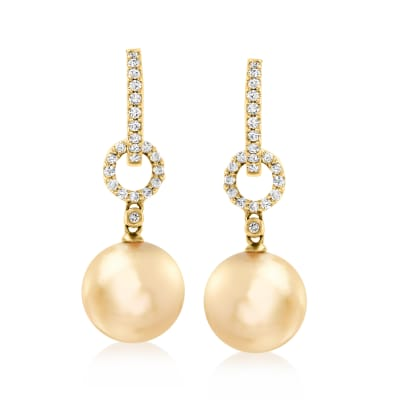 10-11mm Golden Cultured South Sea Pearls and .29 ct. t.w. Diamond Hoop Drop Earrings in 18kt Yellow Gold