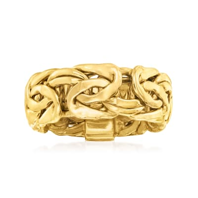 18kt Yellow Gold Over Sterling Silver Large Byzantine Ring