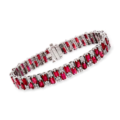 16.00 ct. t.w. Ruby and 1.95 ct. t.w. Diamond Tennis Bracelet in 14kt White Gold
