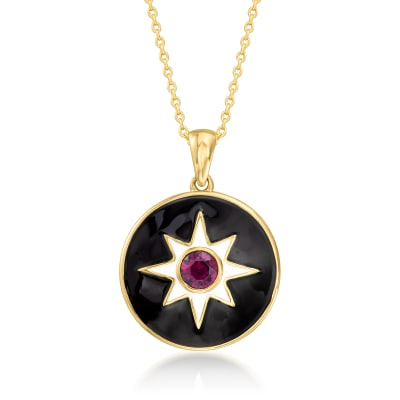 Multicolored Enamel and .60 Carat Rhodolite Garnet Pendant Necklace in 18kt Gold Over Sterling