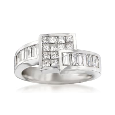 1.50 ct. t.w. Princess and Baguette Diamond Square Bypass Ring in 14kt White Gold