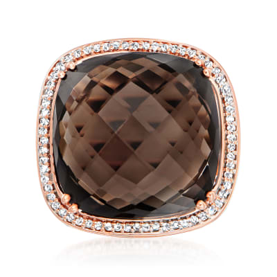 20.00 Carat Smoky Pyrite and .33 ct. t.w. Diamond Ring in 14kt Rose Gold