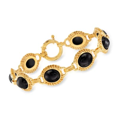 Black Onyx Bracelet in 18kt Gold Over Sterling