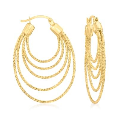 18kt Gold Over Sterling Multi-Circle Hoop Earrings