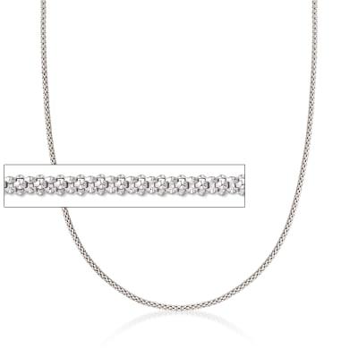 Italian 1.5mm Sterling Silver Adjustable Slider Popcorn Chain Necklace