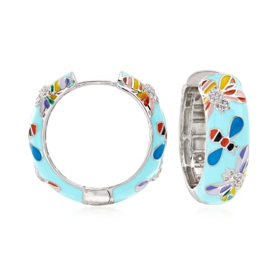 .40 ct. t.w. White Topaz and Multicolored Enamel Critter Hoop Earrings in Sterling Silver